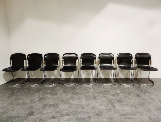 Set of 8 Vintage dining chairs by Willy Rizzo for Cidue, 1970s