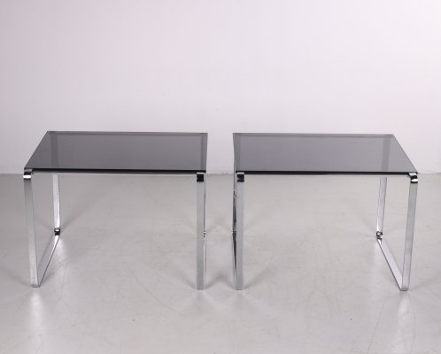 Vintage set of side tables of chrome & smoked glass, 1960s