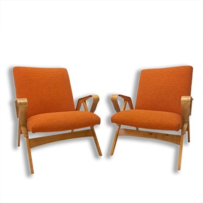 Pair of Mid century bentwood armchairs by František Jirák for Tatra