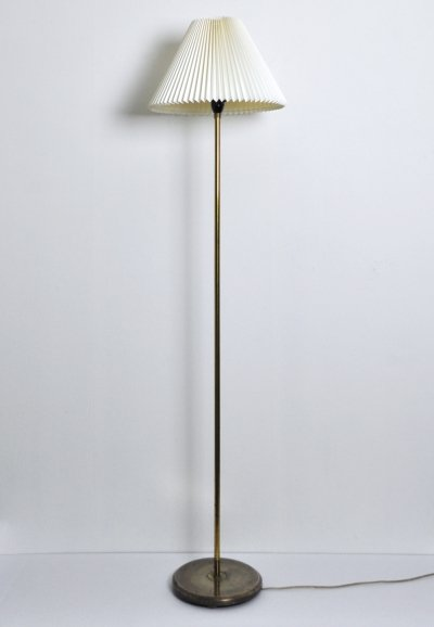 Danish Brass Floor Lamp with Le Klint Shade, 1960s