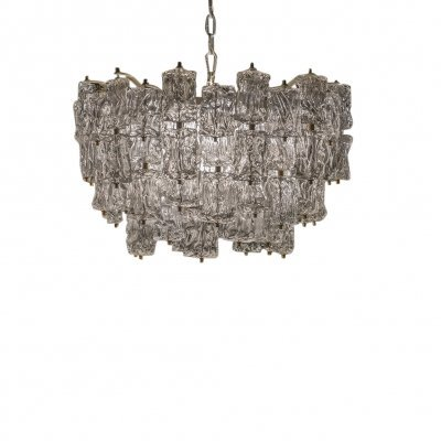 Large Vintage Glass Chandelier by Aureliano Toso for Venini, 1960s
