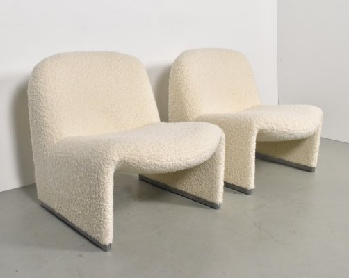 Alky chairs in Bouclé by Giancarlo Piretti for Artifort, 1970s