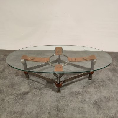 Mid century iron & leather coffee table by Jacques Adnet, 1960s