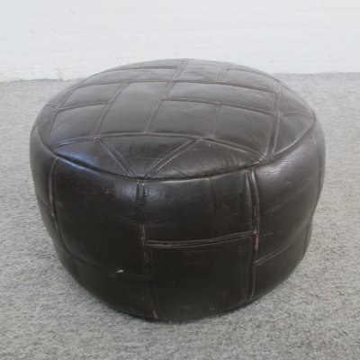 Vintage round brown leather patchwork pouf, 1960s