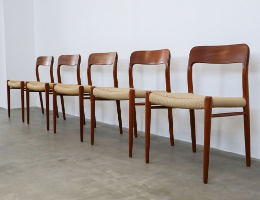 Set of 5 No. 75 dining chairs by Niels O. Møller for JL Møllers Møbelfabrik, 1960s