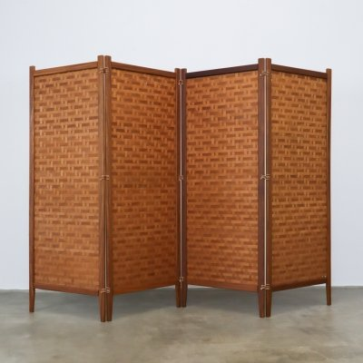 Woven wooden room divider with leather connections by Albert Jansson, 1950s