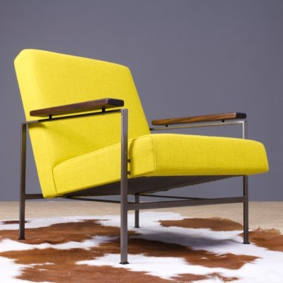 Rob Parry lounge chair 2280 in yellow fabric, 1960s