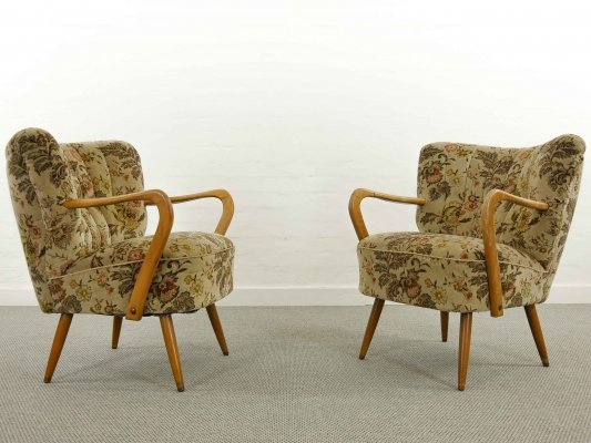 Mid Century Pair of Cocktail Club Chairs with Armrests, 1950s