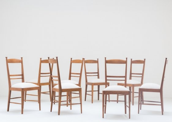 Set of 8 oak dining chairs, 1948
