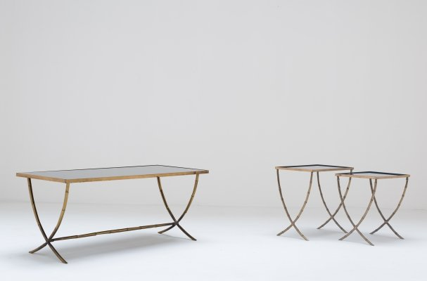 Set of 3 heavy & matching bronze 1940s tables by Maison Bagués