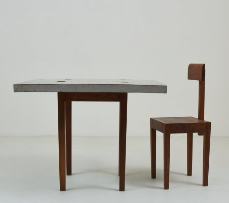 1986 Modernist concrete & walnut writing table