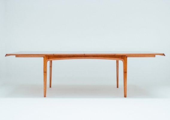 1958 Walnut & rosewood extendable dining table by Fred Sandra for Decoene