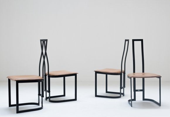 Set of 4 postmodern dining chairs by Gastone Rinaldi for Rima Italy
