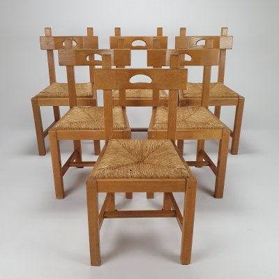 Set of 6 Vintage Oak & Straw Brutalist dining chairs, 1950s