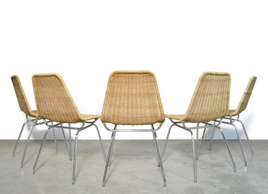 5 rattan 'Italia 100' dining chairs by Rotanhuis, 1960s