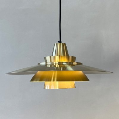 Brass hanging lamp by Superlight Denmark, 1970s