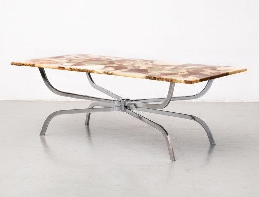 Natural stone mosaic coffee table by APN, W. Germany 1970s