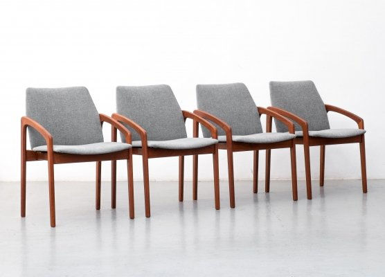 Set of 4 Paper Knife dining chairs by Kai Kristiansen for Korup Stolefabrik, 1960s