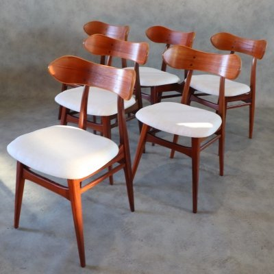 Set of 6 Karstrup Chairs by Louis Van Teeffelen for Webe, 1960s