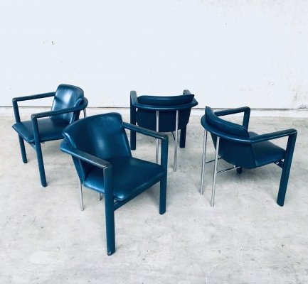 Cachucha Leather Dining Chair set by Hugo De Ruiter for Leolux, 1990's