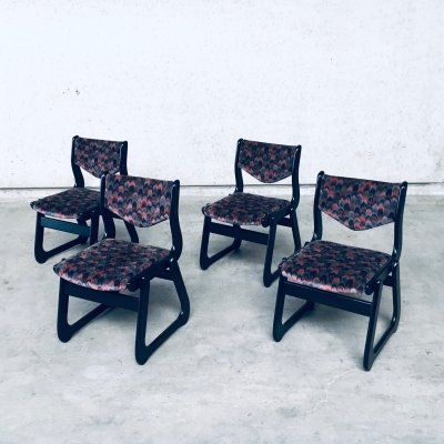 Vintage MCM 1970's set of 4 Black Stained Wood Dining Chairs