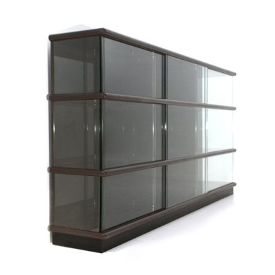 Lacquered wood & glass bookcase by Eugenio Gerli for Tecno, 1970s
