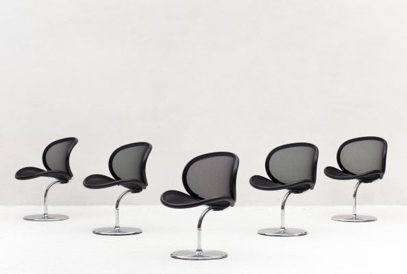 Set of 5 O-line dining chairs by Herbert Ohl for Wilkhahn, Germany 1980
