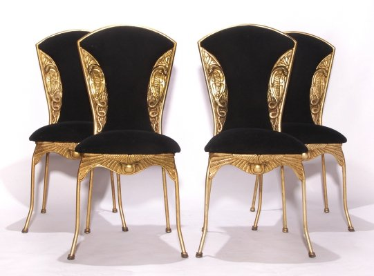 Vintage Snake Hollywood Regency Gold Colored Dining Chairs, 70s
