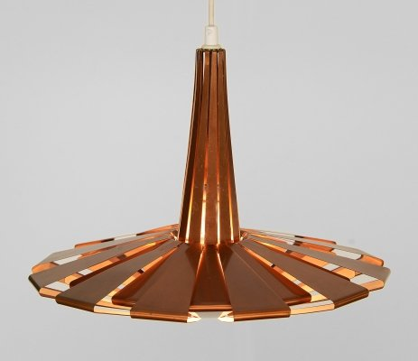 Copper pendant light by Werner Schou for Coronell Elektro, Denmark 1960s
