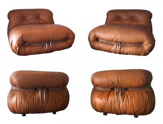 4 x lounge chair by Tobia Scarpa & Afra Scarpa for Cassina, 1970s