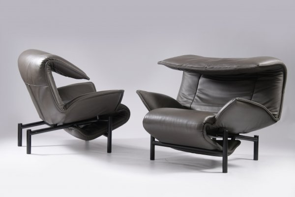 Matching set of Veranda chairs in original leather by Vico Magistretti for Cassina, 1980s