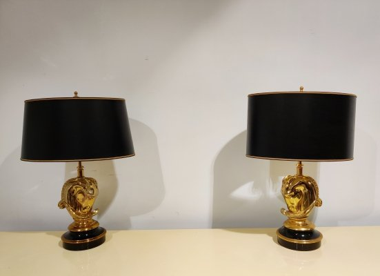 Pair of Brass Horse Head Table Lamps by Lustrerie Deknudt, Belgium 1970s