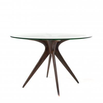 Mid-Century Modern Coffee Table in Wood & Glass, Italy 1950s