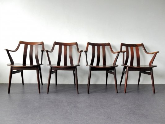 Set of 4 rosewood dining chairs with armrests, The Netherlands 1960's