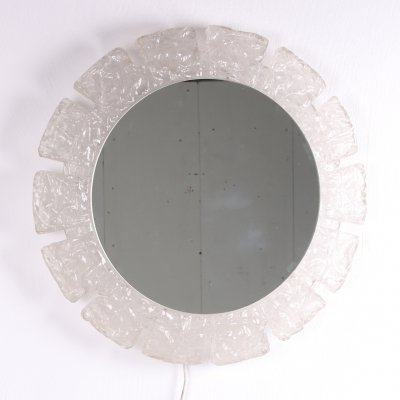 Round Hillebrand wall mirror with lighting & plexiglass edge