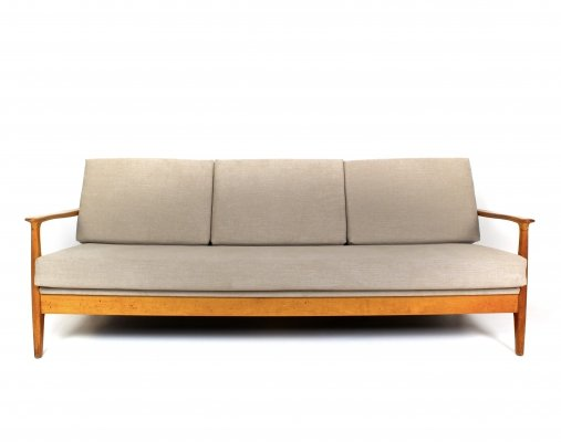 Eugen Schmidt Cherrywood Three-Seater Sofa Daybed for Soloform, 1960s