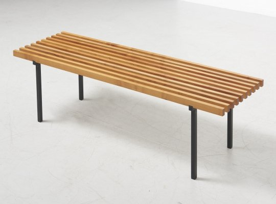 Slatted Bench in Beech & Lacquered Steel, 1960's
