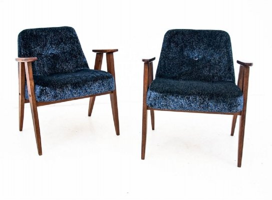 Pair of Model 366 armchairs by J. Chierowski, Poland 1960s