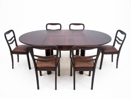 Art Deco table + 6 chairs, 1930s
