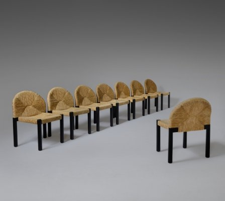 Set of 8 Stained wood & Rush 'Sunrise' dining chairs, 1970s