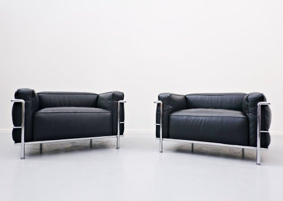 Pair of LC3 Le Grand Confort Armchairs by Le Corbusier for Cassina, 1970s