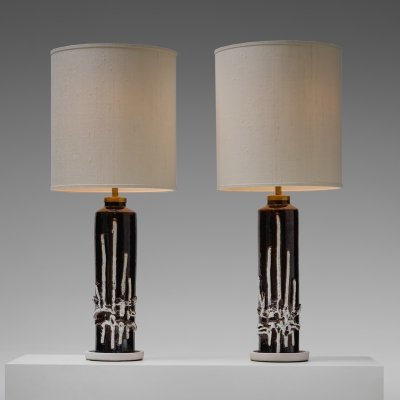 Set of two Large Italian Ceramic table lamps, 1960s