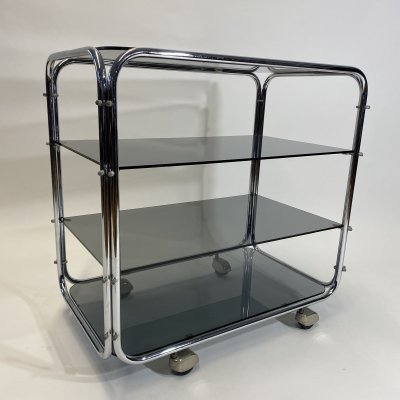 Bauhaus tubular trolley with black glass tops