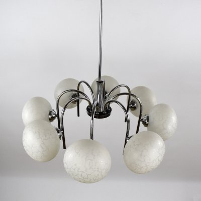 1970s Chrome & Glass Hanging Lamp