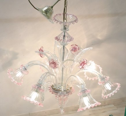Italian Transparent & Pink Murano Glass Chandelier, 1980s