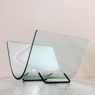 Curved Glass Magazine Holder by Fiam Italy, 1980's