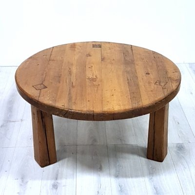 Robust solid oak coffee table, 1970s