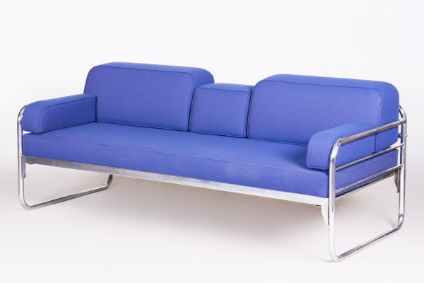 Czech Bauhaus Blue Tubular Chrome Sofa by Hynek Gottwald, 1930s