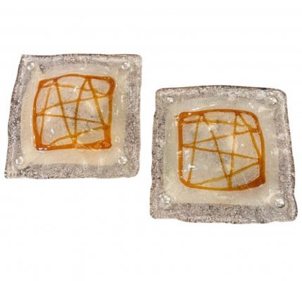 1970s Space Age set of Two Murano Glass Wall Sconces by Mazzega