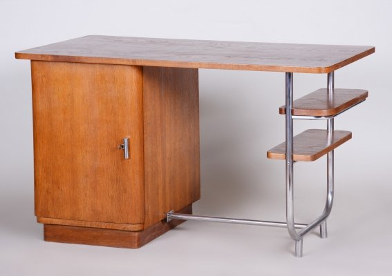 Unusual Czech Oak & Chrome Bauhaus Writing Desk by Hynek Gottwald, 1930s